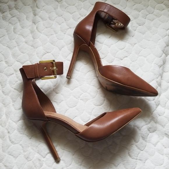 Aldo Shoes - Aldo ankle strap heels brown pointy toe 7.5